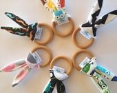 Natural Bunny Teething Ring- You PICK the FABRIC