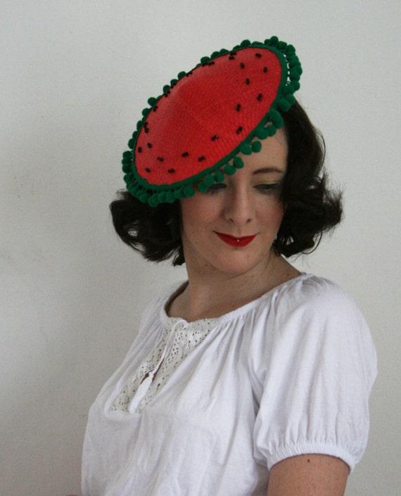 Coolie Hat: Watermellon Tilt Coolie Hat Vintage Style Sun Hat 50s