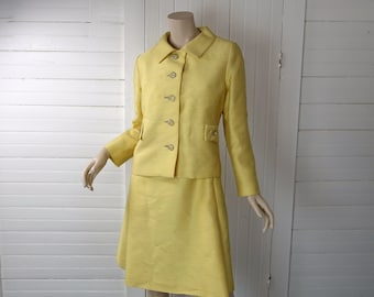 Yellow Jackie Dress- 60s Suit- Jacket, Shift Dress- Medium / Large- 1960s Wedding Suit- Mad Men / Betty Draper