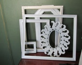 Picture Frames Set of 6 Upcycpled Vintage Various Sizes Open Frames