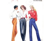 Slim High Waist Pants Pattern Butterick 6766 Vintage 80s Skinny Leg Pants, Height Proportioned Trousers Womens Sewing Pattern Size 12 UNCUT