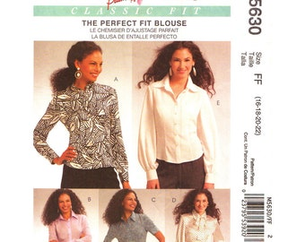 Blouse Sewing Pattern McCalls 5630 Perfect Fit Blouse & Tie Palmer Pletsch Womens Shirt Pattern Size 16 18 20 22 Plus