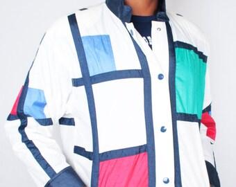 Vintage 90s Red White Blue Abstract Geo MONDRIAN Style Windbreaker // Unisex Vintage Jacket (sz M)