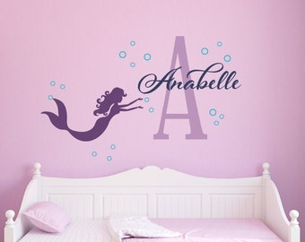 Mermaid Wall Decal, Personalized Mermaid Name Decal, Girl Name Decal, Nautical Nursery Decor