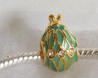 22k Golden Peridot Green Rabbit Crystal Faberge Egg Bead