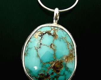 Genuine Turquoise Necklace in Sterling Silver