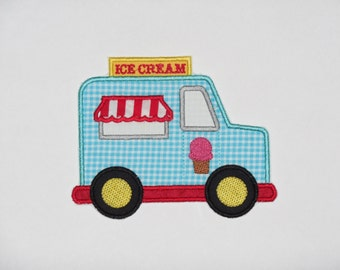 """Embroidered Iron On Applique """"Ice Cream Truck"""""""