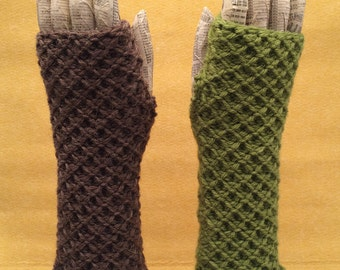 Knitted Waffle Fingerless Gloves
