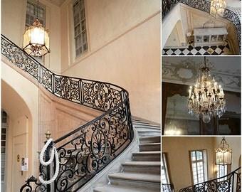 Paris Photography, Rodin Museum Photos, Paris Staircase Chandelier Prints, Romantic Paris Rodin Staircase Chandelier Print Set, Paris Prints