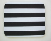 Mouse Pad mouse pad / Mat -  Black and white stripes  -  round or rectangle - office accessories desk home decor
