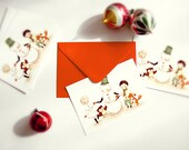 Christmas Card Set, Holiday Card Christmas, Holiday Postcard Set, Christmas Postcard Set, Xmas - Dance Mr Snowman - Set of 10 - Red Envelope