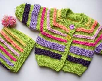Bright Striped Little Girl's Cardigan with Hat