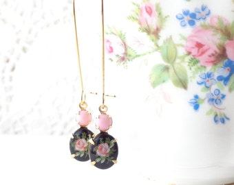 Vintage Limoges Pink Rose Earrings - Long Dangle Earrings - Flower Cameo Earrings - Garden Wedding - Pink Rose