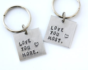 Love You More Keychain - Love You Most Keychain - Love You More Love You Most Keychain Set - Couples Keychain Set - Mother's Day Gift