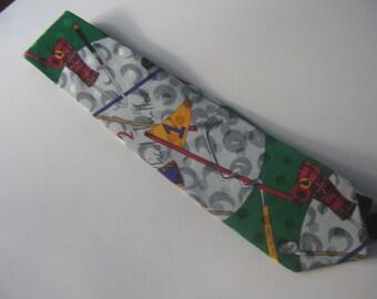 Vintage Necktie Golf Sport Theme Nicole Miller Green Gray Print