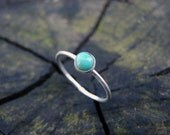 Tiny Turquoise Itty Bitty Silver Midi Ring