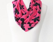 FREE SHIPPING Infinity Scarf Loop Scarf Circle Scarf Red Flowers Scarf Cowl Scarf Soft and Lightweight