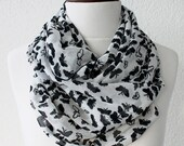 FREE SHIPPING Butterfly Print Infinity Scarf - Loop Scarf - Circle Scarf - Cowl Scarf - Soft and Lightweight