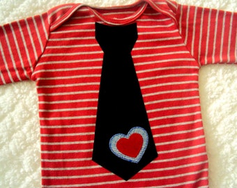 Baby Boy Valentine Tie Bodysuit-  Boys Valentine Shirt -Toddler Boy Valentines Day