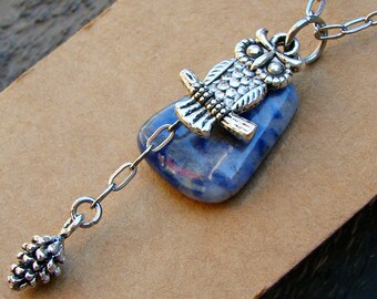 The Night Guardian Owl Sodalite Gemstone Pendant Necklace