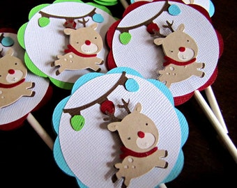 Reindeer Cupcake Toppers, Christmas Cupcake Toppers, Reindeer Birthday Party, Christmas Birthday Party, Holiday Party Toppers, Set of 12