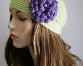Womens Beanie Crochet Hat Womens Hat with Flower Cloche Womens Hat Womens Accessories Soft Fern and Lavender Flapper Inspired
