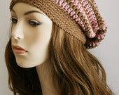 Slouchy Beanie Hat for Women - Slouch Hat Striped Womens Crochet Hat Chocolate & Pink Unisex Hat