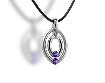 Twoe Birthstone Amethyst Tension Set Double Circle Pendant
