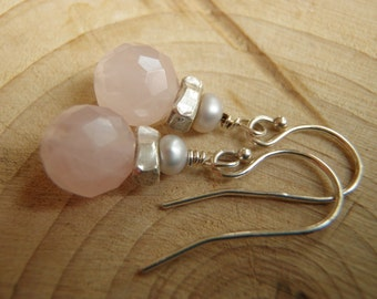Rose Quartz, Freshwater Pearls, Sterling Silver and Thai Silver Earrings