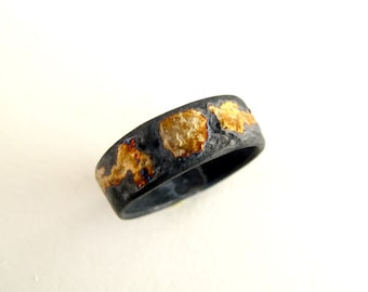 Gold And Silver Texture Ring Oxidized Silver With 18kt Gold Powder Us Size 5 Gold Ring