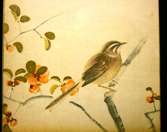 Vintage Japanese Print Sparrow and Flowers Magazine Insert July 1935 A