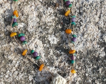 Antler Point Multi Strand Necklace with Amber, Amethyst and Adventurine- Lot No. Icy Depths