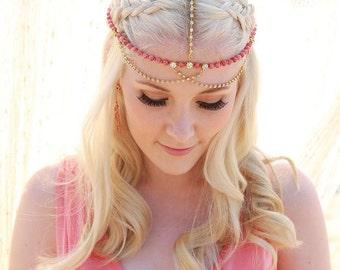 Skylar Bohemian Headpiece, Boho Wedding Hair Chain, Bridesmaid Headpiece, Wedding Headpiece, Boho Head Chain, Party Festival Jewelry