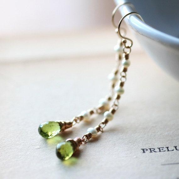 August Birthstone Earrings Gold Earrings Long Dangle Earrings Drop Earrings Peridot Pearl Earrings - Renaissance - Pearl and Gold Earrings