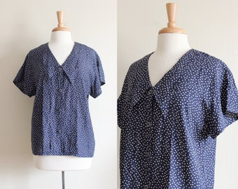 Vintage Navy & White Polka Dot Short Sleeve Button Down