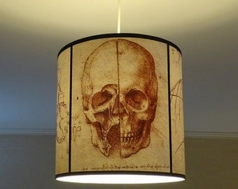 Leonardo Da Vinci Skull pendant lamp shade lampshade - skull lamp, goth decor, Halloween, human anatomy, steampunk lighting, drum lampshade
