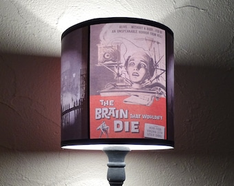 Horror Night red drum lamp shade - lighting, classic horror movie, geek gift, the brain that wouldn't die, decor, geekery, pop culture, gift