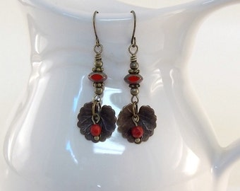 Red Vintaj Leaf Earrings - Czech Glass Earrings - Brass Earrings - Antique Brass Earrings - Red Earrings - Wire Earrings - Vintaj Jewelry