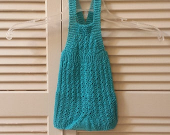 Girls Knitted Jumper / Aqua Blue Shimmer Infant Size 0 to 3 Months / Baby Hand Knitted One Piece Jumper