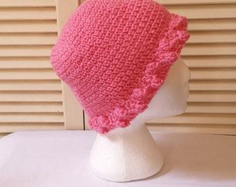 Womens Crochet Hat /  Pink Bauble Trim / Adult/Teen Size Crocheted Skull Cap/ Handmade Accessories