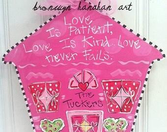 Valentine Happy Home Door Hanger - Bronwyn Hanahan Art