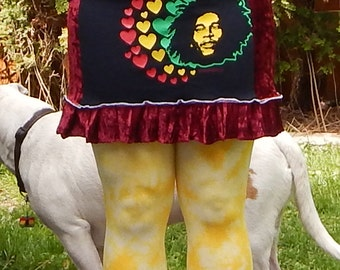 SALE Bob Marley Red Velvet Mini T Skirt One Love Festival Hippie M Rasta OOAK