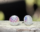 Moon Glow Stud Earrings, White Dragon Scale Studs, 12mm - 15% OFF! Use Coupon Code GET15