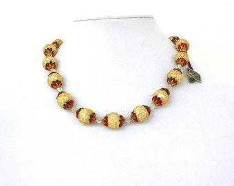 Vintage 50s Coro Pegasus Necklace Ivory Sugar Bead Choker w AB Crystals Original Hang Tag Signed