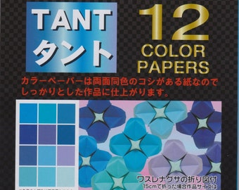 Blue Tant Origami Paper - Double-Sided - 48 Sheets - 15cm x 15cm