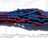 8 Red Blue Violet Accent DE Double Ended Dreadlocks 19 inches