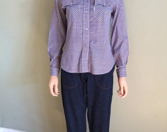 1960s LEVIS Cotton Blue and White Gingham Long Sleeve Pearl Snap Shirt- S M