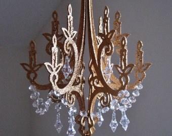 """13"""" Royals Hollywood Glam Golden Unlit Chandelier Decoration MADE TO ORDER"""