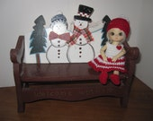 "Crochet Dress and Hat Set fits 4-5"" AI Mini BJD Dolls Red and White for the Holidays"