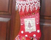 RESERVED for Julie - Country Cowgirl Boot Christmas Stocking -  Red, Crazy Quilted with applique,